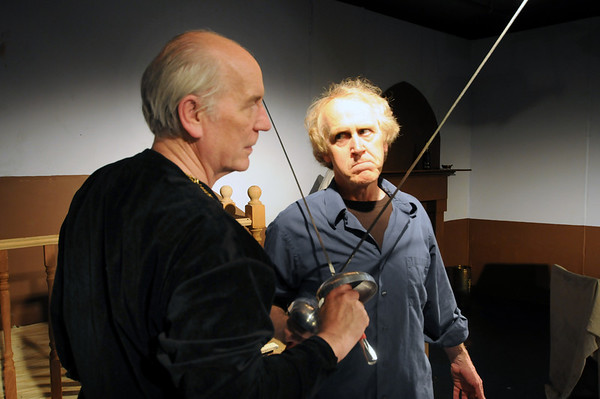 """Gloucester: Graig Owen as John Barrymore and David McCaleb as Andrew Rally in The Cape Ann Shakespeare Troupe production of """"I Hate Hamlet"""". preformances are May 25, 26, June 1, 2 at 7:30 PM and May 27 and June 3 at 3 PM at The Cape Ann (The Annie). Jim Vaiknoras/staff photo"""