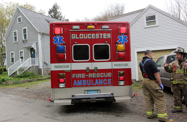 ALLEGRA BOVERMAN/Staff photo. Gloucester: A man driving a pickup truck crashed into the stone wall at 1113 Washington Street. Firefighters said he didn't negotiate a turn correctly and hit the wall, causing a sizable amount of damage to the wall. The man was able to get back to his home around the corner and was treated by firefighters there.