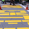 ALLEGRA BOVERMAN/Staff photo. Gloucester Daily Times. Rockport: Rockport Department of Public Works employees are repainting lines and road markings all over Rockport starting on Thursday. Working at the Main Street end closest to the five corners are highway foreman Bill Aspesi, Jason Doyle and Andrew Porter.