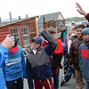 ALLEGRA BOVERMAN/Staff photo. Gloucester: Gloucester Mayor Carolyn Kirk, left, dropped by to ask Beeman Elementary School fifth graders about what they were learning on Thursday while they participated in the new Ocean Explorers Program, a collaborative effort between Maritime Gloucester and NOAA and the schooner Ardelle. The students were learning what it's like to be a marine or physical scientist.