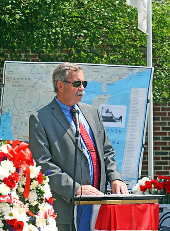 Jesse Poole/Gloucester Daily Times May 28, 2012 GLOUCESTER— Mark Nestor, local attorney and Vietnam War Veteran, speaks at the ceremony commemorating the 50th anniversary of the war, which took place outside Gloucester High School on Monday morning.