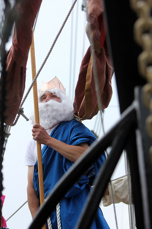 ALLEGRA BOVERMAN/Staff photo. Gloucester Daily Times. ROCKPORT: Neptune was on hand to bless both the denaming and renaming of the fishing vessel the Ocean Reporter at the Sandy Bay Yacht Club at Sandy Bar Harbor on Friday.