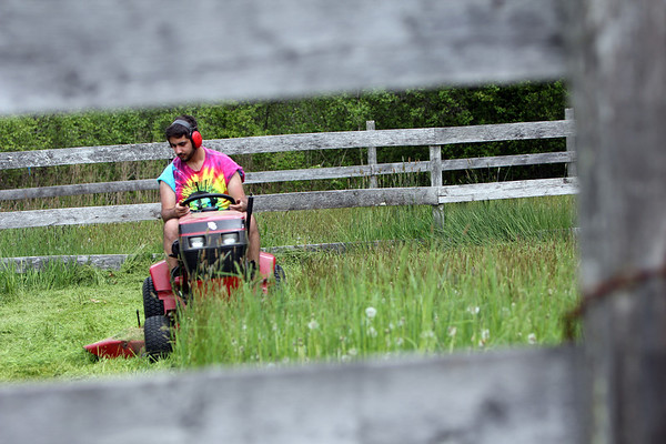 ALLEGRA BOVERMAN/Staff photo. Gloucester Daily Times. Manchester: Tyler Rossi of Manchester mows tall grass at the home of his grandparents in Manchester on Tuesday afternoon. He regularly helps them with their mowing and yard work.