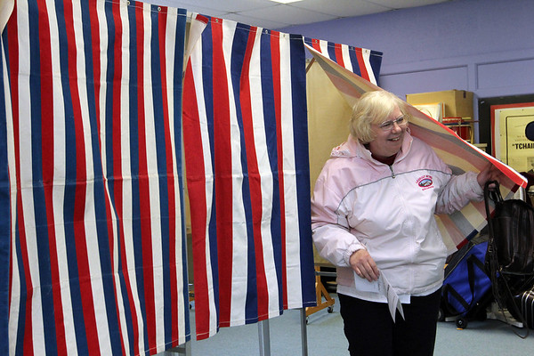 ALLEGRA BOVERMAN/Staff photo. Gloucester Daily Times. Rockport: Rockport Town Clerk Pat Brown votes during elections at Precinct Three at Rockport Elementary School on Tuesday.