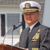 Jesse Poole/Gloucester Daily Times May 28, 2012 GLOUCESTER— Captain Earl Kishida, retired U.S. Navy, of Rockport, serves as guest speaker at Gloucester's Memorial Day ceremony on Monday morning at Kent Circle.