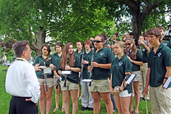 Jesse Poole/Gloucester Daily Times May 28, 2012 ESSEX— Members of the Manchester Essex Regional High School band prepare for the Memorial Day ceremony at Memorial Park in Essex on Monday morning.