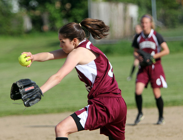 ALLEGRA BOVERMAN/Staff photo. Gloucester Daily Times. Gloucester: Gloucester's Katie Russo in action against Lynnfield in Gloucester on Friday afternoon. Gloucester beat Lynnfield 6-5.