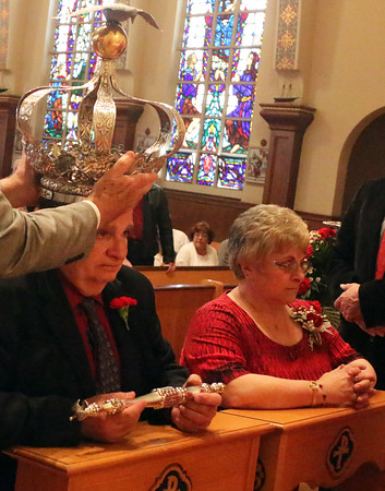 Gloucester: At the Annual Crowning Feast of the Holy Spirit held at Our Lady of Good Voyage Parish on Sun., May 15, 2016. Bart and Mary Piscitello were honored this year with the Crown and they and their family were crowned first at the end of the Mass. <br /> <br /> <br /> Photo by Allegra Boverman