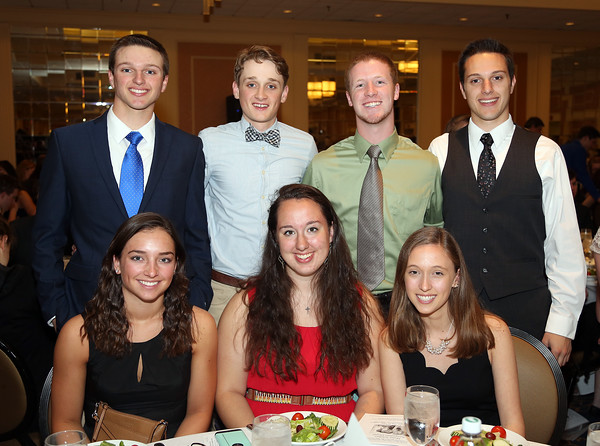 DAVID LE/Staff photo. The 2016 Gloucester High School Top Scholars being honored include Matilda Grow, Karina Keenan, Andrew Latassa, Katey Latassa, Noah Stevens, Cara Stockman, Lukas Struppe, Michael Vaiarella, Thomas Vaiarella Jr., and Natilia Woozencroft, at the48th annual North Shore Chamber of Commerce Honor Scholars Recognition Dinner at the DoubleTree by Hilton Hotel in Danvers. 5/10/16.