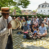 Desi Smith/Staff photo.   Singer Henri Smith plays to the camera, as he has fun singing to the crowd in the Courtyard at Cape Ann Museum on Pleasant Street as part of the Harbortown Arts Festival Saturday afternoon.  May 28,2016