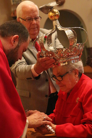 Gloucester: At the Annual Crowning Feast of the Holy Spirit held at Our Lady of Good Voyage Parish on Sun., May 15, 2016. Bart and Mary Piscitello were honored this year with the Crown and they and their family were crowned first at the end of the Mass. Mary Goncalves was crowned and also wore a festive crown pin to the ceremony and Mass. Photo by Allegra Boverman