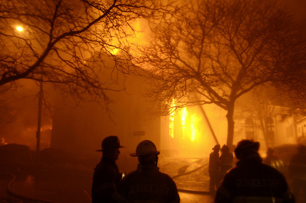 Gloucester: Firefighters battle an eight-alarm fire that destroyed a four-story apartment building on Middle Street early Saturday morning.Photo by Jim Daly/Gloucester Daily Times Saturday, December 15, 2007