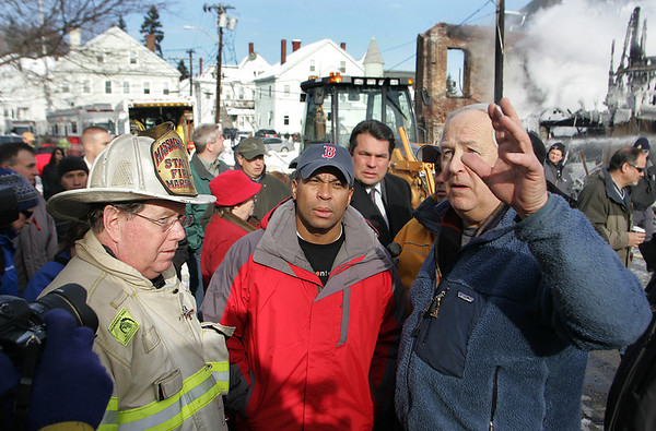 Gloucester:  Governor Deval Patrick tours the site of a massive eight alarm fire that destroyed a four story apartment building on Middle Street along with State Fire Marshall Steve Coan and Mayor John Bell Saturday morning.  <br /> Photo by Mary Muckenhoupt/Gloucester Daily Times. Saturday, December 15, 2007