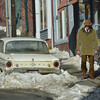 "MIKE SPRINGER/Gloucester Daily Times<br /> Actor Richard Jenkins walks past an early 1960s-model Ford Falcon Futura while filming a scene for the HBO miniseries ""Olive Kitteridge"" Wednesday on Center Street in downtown Gloucester. Cape Pond Ice provided 36 tons of snow for Tuesday's filming. Jenkins plays pharmacist Henry Kitteridge, husband of the title character."