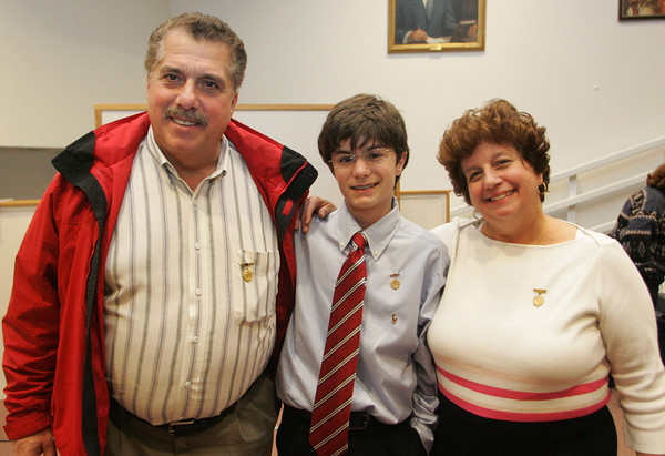 Gloucester: Sawyer medal winners Joe Frontiero and his sister Cathy Frontiero Nicastro stand with their nephew Nathan Frontiero, a freshman at Gloucester High School who won the Sawyer medal Wednesday night. Mary Muckenhoupt/Gloucester Daily Times