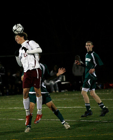 Reading: Rockport's CJ Burnham gets a head on the ball during the Vikings' 1-0 win over Austin Prep in the Division III North Semifinals at Reading High School last night. Photo by Kate Glass/Gloucester Daily Times Thursday, November 12, 2009