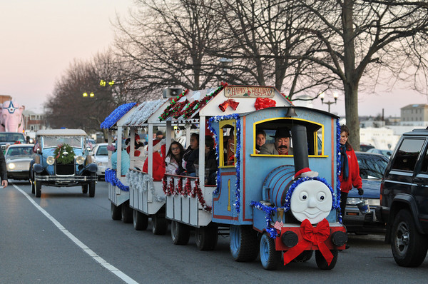 Gloucester: Tony C drives the Polar Express along Western Ave in the Santa Parade Sunday afternoon.Desi Smith Photo/Gloucester Daily Times. November 29,2009.