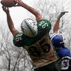 Georgetown: Manchester Essex's Brian Ciccone catches the ball by his fingertips as Georgetown's Luke Prescott covers him during their Thanksgiving game at Georgetown. The Hornets won 22-14. Photo by Kate Glass/Gloucester Daily Times Thursday, November 26, 2009