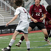 Lynn: Rockport's Ben Clarkson heads the ball past Weston's Peter Wynant during the Division 3 North final at Manning Field in Lynn Sunday afternoon. Mary Muckenhoupt/Gloucester Daily times