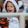 Gloucester: Luke LoCoco 3, roars for the Tigers A Team while his sister Lexie a cheerleader for the Tigers, cheers her team on,Sunday afternoon at Newell Stadium. Desi Smith Photo/Gloucester Daily Times. November 1,2009.