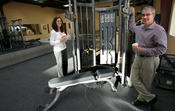 Gloucester: Susan Macchi Hensley, manager of MAC Fitness, and Jay Herson, assistant general manager of the Manchester Athletic Club, hope to have the Gloucester gym open early in December. Photo by Kate Glass/Gloucester Daily Times Monday, November 16, 2009