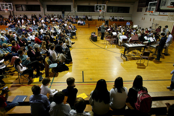 Rockport: The high school band, led by director Jim Davison, performs music from The Phantom of hte Opera and Pirates of the Caribbean during The Big Gig on Thursday night. The middle and high school jazz bands will perform on November 10th in the John Lane Performing Arts Center at 7:30. Photo by Kate Glass/Gloucester Daily Times Thursday, November 5, 2009