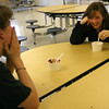 Manchester: Olivia Peterson laughs while talking with classmate Matt Bauer during an ice cream social for the junior class at Manchester Essex Regional High School yesterday. The students won the ice cream for having the most spirit during a pep rally earlier this year. Photo by Kate Glass/Gloucester Daily Times Wednesday, November 25, 2009
