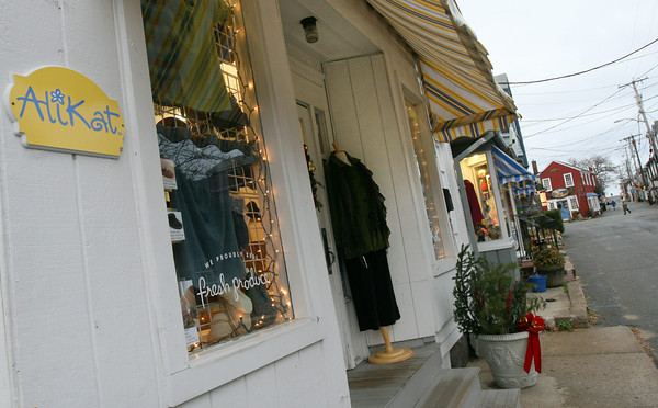 Rockport: The mannequin outside AliKat has sparked a debate among Bearskin neck shopowners because they claim it goes against a new bylaw discouraging outdoor displays. Photo by Kate Glass/Gloucester Daily Times Tuesday, November 23, 2009