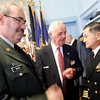 Rockport: Staff Sgt. Michael Silva and Commander Melvin Olson Jr. speak with Captain Earl Kishida, who was the honorary speaker at Rockport's Veterans Day ceremony yesterday. Photo by Kate Glass/Gloucester Daily Times Wednesday, November 11, 2009