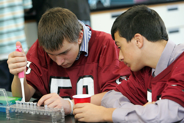 Gloucester: Austin Titus, left,  uses a micro pipettor to prepare DNA samples in Eric Leigh's freshman biology class Thursday morning. Thanks to a grant given to Gloucester High School, students a given a hands on opportunity to understand the bio tech process. Also pictured Alex Lucido, right. Mary Muckenhoupt/Gloucester Daily Times
