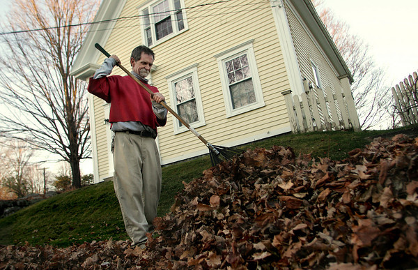Essex: Garry Hynes works on racking a pile of leaves on Winthrop Street in Essex Wednesday afternoon.  Hynes who owns East Coast Landscaping was  working in the last bit of sunlight as the days get shorter. Mary Muckenhoupt/Gloucester Daily Times