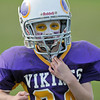 Gloucester: Jason McLaughlin of the Viking's put his game face on for Sunday's Pee Wee Football games held at  Newell Stadium. Desi Smith Photo/Gloucester Daily Times. November 1,2009.