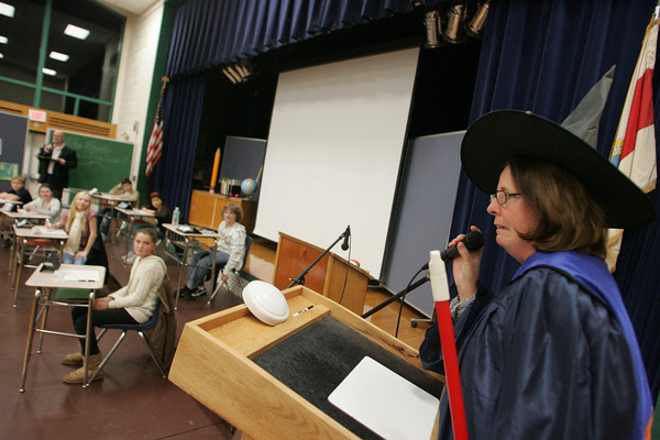 Essex: School nurse Donna Smith has to admit that she is not smarter than a fifth grader after getting a math question wrong while playing Are You Smarter Than A Fifth Grader at Essex Elementary School Friday night. Mary Muckenhoupt/Gloucester Daily Times