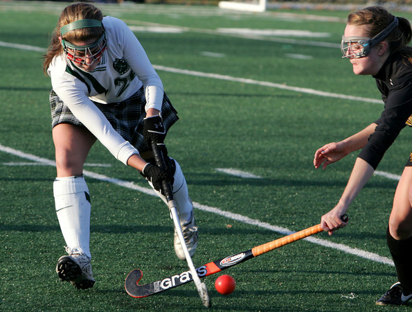 Manchester: Manchester Essex's Hannah Beardsley battles Bishop Fenwick's Kelly Moran for the ball during the field hockey tournament at Coach Ed Field Field Friday afternoon. Manchester Essex defeated Bishop Fenwick 1-0. Mary Muckenhoupt/Gloucester Daily Times
