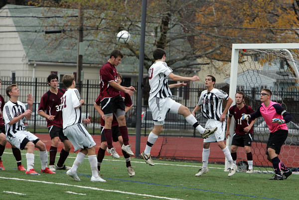 Lynn: Rockport's Mike Emerson heads the ball during the Division 3 North final at Manning Field in Lynn Sunday afternoon. Weston defeated Rockport 3-0. Mary Muckenhoupt/Gloucester Daily Times