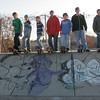 Gloucester: Dan Grammas, Andrew Grammas, Aaron Smith, Jordan Brooks, Adam Cooney, Jeff Bondreau, and Nick Ciluffo gather at the top of a ramp at the skate park near O'Maley Middle School yesterday afternoon. Photo by Kate Glass/Gloucester Daily Times Tuesday, November 17, 2009