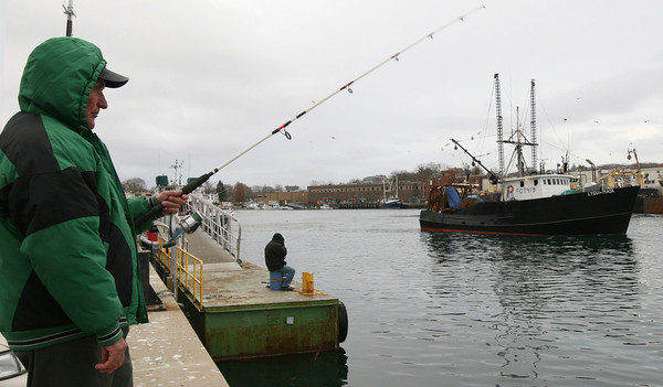 Gloucester: Rosario Grillo of Gloucester fishes for mackerel at the end of Rowe Square yesterday afternoon as the Lydia & Maya heads out to sea. Grillo caught 4 fish on one line, but didn't have another bite for at least a half hour. Photo by Kate Glass/Gloucester Daily Times Monday, November 23, 2009