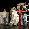 "Gloucester: Tyler Evans, Elizabeth Stephens, Abey Jerome, Christine Anderson, Adrian Davis, and Zoe Paddock rehearse a scene from ""Shut Up Alarm Clock,"" one of 7 plays written and directed by students at Gloucester High School. Photo by Kate Glass/Gloucester Daily Times Tuesday, November 10, 2009"