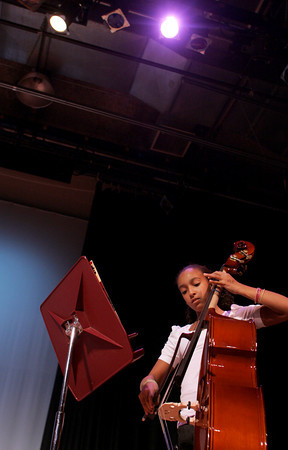 Rockport: Nicole Felder plays the bass with the fifth grade string orchestra during the Big Gig Concert at Rockport High School Wednesday night. Mary Muckenhoupt/Gloucester Daily Times