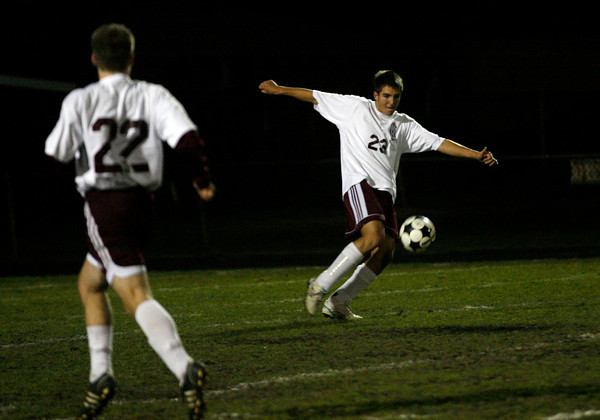 Gloucester: Gloucester's Ignacio Farjas clears the ball during their game against Danvers last night. Photo by Kate Glass/Gloucester Daily Times Monday, November 2, 2009
