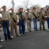 Essex: Members of Essex Boy Scout Troop 39 salute the flag during the Pledge of Allegiance at the Essex Veterans Day ceremony. Photo by Kate Glass/Gloucester Daily Times Wednesday, November 11, 2009