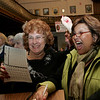 Gloucester: Anne Frontiero Mulcahey, left, celebrates with Rose Floyd after winning Ward 2 coucilor as the numbers come in at City Hall Tuesday night. Mary Muckenhoutpt/Gloucester Daily Times