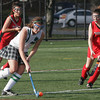 North Andover: Manchester Essex's Amelia Cohen tries to get past Watertown's Kaylee McNamara, left, and Kelsey Prendergast, right, in the Division II North Field Hockey Championship at North Andover High School yesterday afternoon. Photo by Kate Glass/Gloucester Daily Times Sunday, November 15, 2009