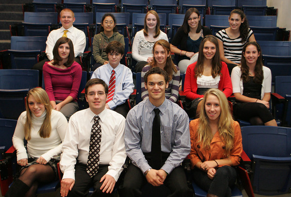 Gloucester: The winners of the Sawyer medals, bottom row from left, juniors Krystina Novello, Cris Crabb, seniors Alex Bigger-Allen, and Casey McCarthy. Second row, from left, freshman Katherine Ciaramitaro, Nathan Frontiero, Sophia Black, Melody Eaton, Kim Foster. Third row, from left sophomores, Josh Zubricki, Mai Okada, Meg Bresnahan, Hali Doucette, and Nicole Reppucci.   Photo by Mary Muckenhoupt/Gloucester Daily Times