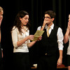 "Gloucester: Hannah Sumner, Paige Stockman, Tom Martin, and Emily White rehearse a scene from ""Around the Water Cooler,"" one of 7 plays written and directed by students at Gloucester High School. Photo by Kate Glass/Gloucester Daily Times Tuesday, November 10, 2009"