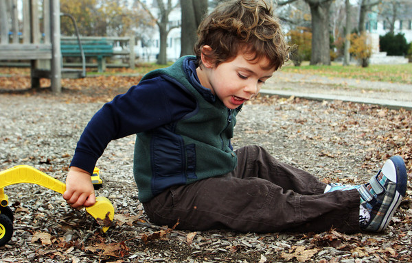 Jackson DePriest, 2, of Beverly, visits Masconomo Park in Manchester on Tuesdsay moring with his mom. Jesse Poole/Gloucester Daily Times Nov. 15, 2011