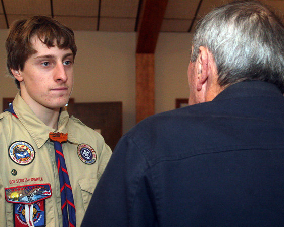 "ALLEGRA BOVERMAN/Staff photo. Gloucester Daily Times. Manchester: Alex Shepard of Manchester's Eagle Scout Project, titled ""Remembering Our Veterans,"" involves him, some of his fellow scouts, and others, interviewing local WWII and other veterans about their experiences during wartime. He started it on Veterans Day at the American Legion Post 113, and will interview more veterans after Thanksgiving."