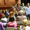ALLEGRA BOVERMAN/Staff photo. Gloucester Daily Times. Rockport: Members of the Rockport High School Madrigals perform for their peers during the Chorus Summit on Tuesday afternoon at the performing arts center. The Chorus Summit was convened to bring the Madrigals, the high school, middle school and elementary school choruses together for mentoring, fellowship and love of singing.
