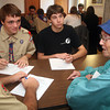 "ALLEGRA BOVERMAN/Staff photo. Gloucester Daily Times. Manchester: Alex Shepard of Manchester is working on his Eagle Scout Project titled ""Remembering Our Veterans."" He is interviewing local WWII and other veterans on Veterans Day at the American Legion Post 113 in Manchester. Seated together talking, clockwise from lower right, are veteran Barbara Egan, Tyler Rossi, Tucker Evans and Liam Dingle."