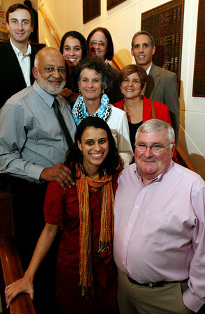 ALLEGRA BOVERMAN/Staff photo. Gloucester Daily Times. Rockport: Manny DeCruz is retiring from the Rockport Public Schools after 28 years of service. Over a 100 people attended a party in his honor t the Elks Lodge in Gloucester on Wednesday evening. DeCruz, second row at left, is with his family. Top row, from left are his son-in-law Chris Chapman, daughter Rachael DeCruz, sister-in-law Kristin McKeon and brother-in-law Larry Buchsbaum; second row from left is DeCruz, his wife Roberta, and her sister Shelly Buchsbaum; front row from left is DeCruz's daughter Sarah DeCruz Chapman and brother-in-law Dan McKeon.